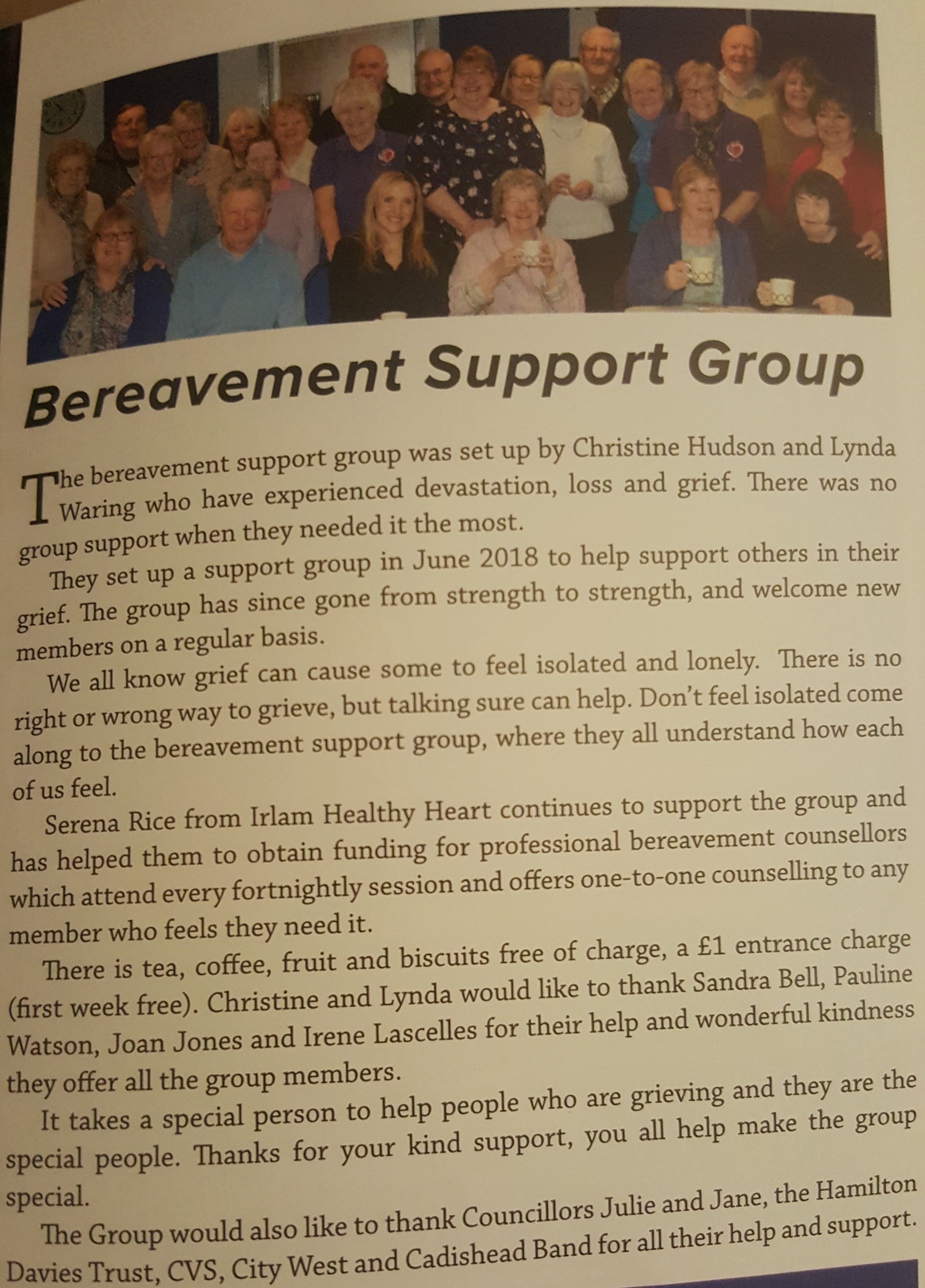bereavement group promotion march 2019